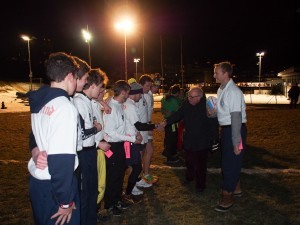 The English team being introduced to the President by Ollie Banks, the captain